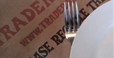 Trader Joe's paper bag, dish and fork