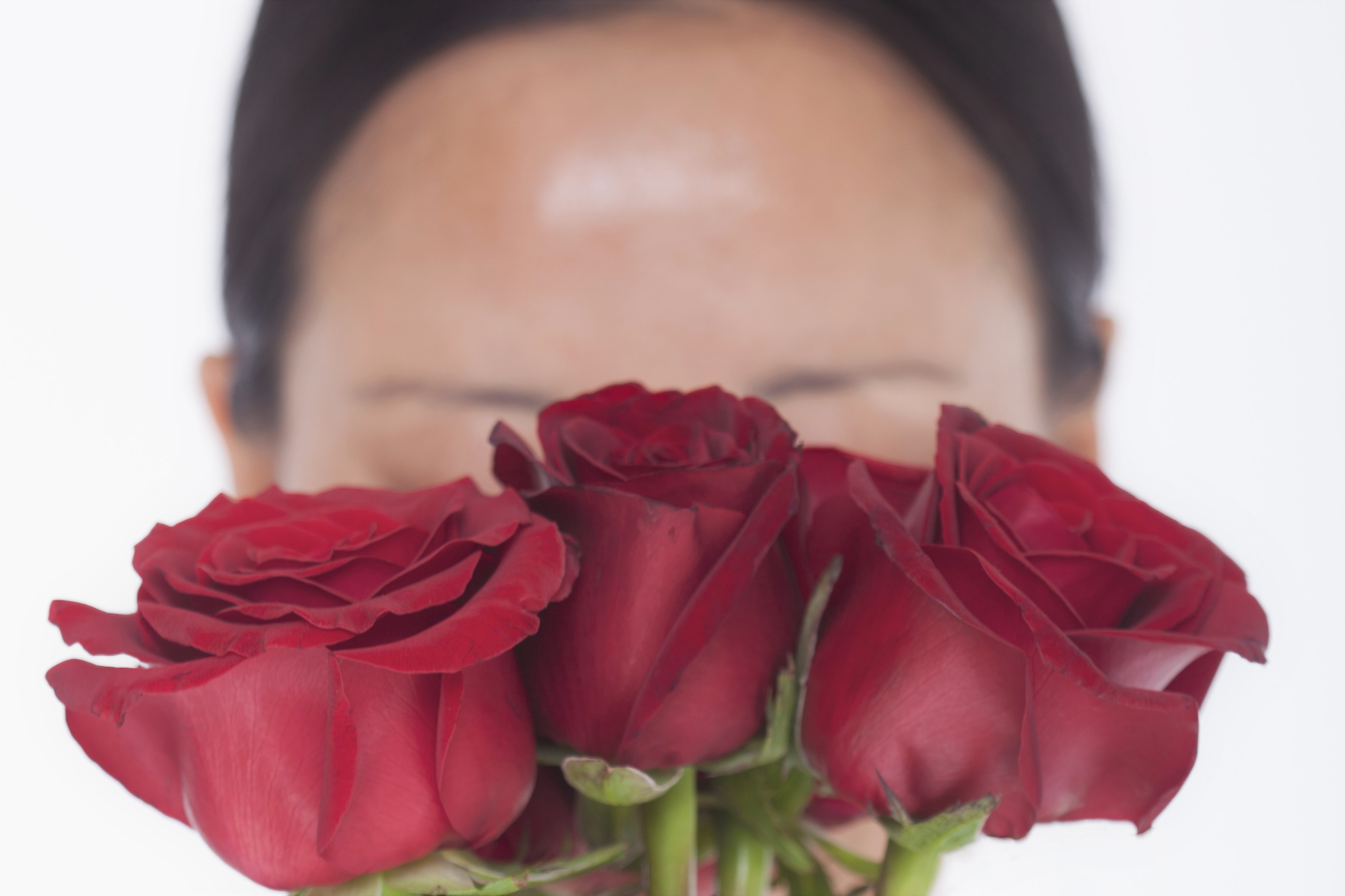 woman hiding face behind red roses