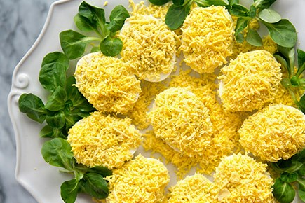 Platter or eggs mimosa covered in grated yellow yokes